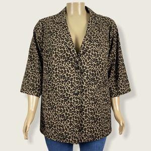 Maggie Barnes Leopard Animal Print Blazer Jacket